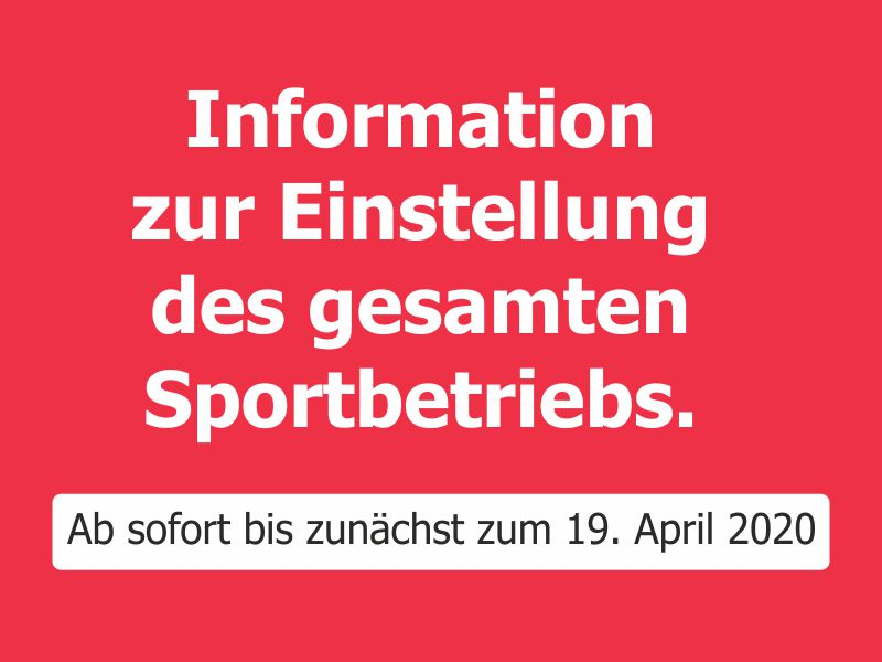 Info Sportbetrieb COVID19 website